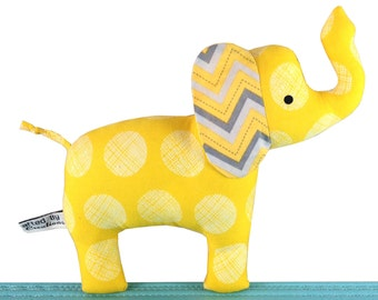 Elephant Stuffed Toy with Rattle - Yellow and Grey - Unisex New Baby Gift - Baby Safe - Toddler - Child Friendly - Soft Toy