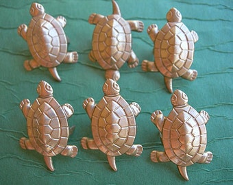 TURTLES Vintage Brass Stampings Prong Back lot of 6