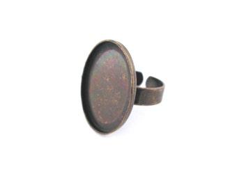 5 18x25mm bezel ring blanks, brass plated