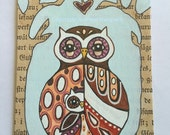 Original ACEO - Miniature art - original illustration , drawing  , acrylic painting , owl art mother and child , ink drawing mixed media