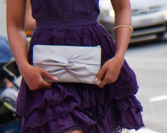 Silver Knot Bow Bridesmaid Clutch with Detachable Wrist Strap- More Colors Available