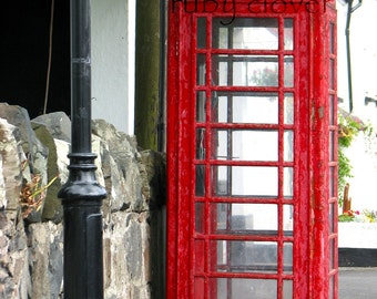 Red Phone Booth, British Phone Box, Quintessential London, Red Telephone, UK Phonebooth, Cushendun,Co. Antrim, Belfast Photography,Phone Box
