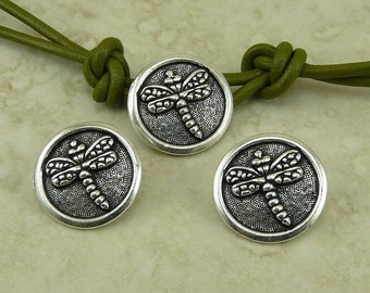 3 TierraCast Dragonfly Buttons > Insect Bug Dragon Fly Zen Tranquility Wrap > Silver Plated LEAD FREE Pewter Ship Internationally 6573