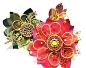 """The """"Floral chic"""" collection, Cocktail ring,""""Candy"""" color, Couture jewelry by Monikque, Golden lime green"""