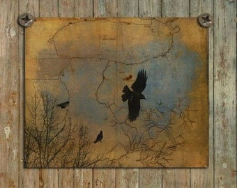 Crows Wall Art Decor, Blackbirds Photograph, Ravens Flying Picture, Corvidae, Old Map Image Collage, Ravens - Map It Out