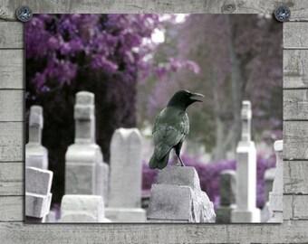 Crow Art Image, Gothic Decor, Raven Art, Blackbird In Graveyard, Surreal, Purple, Tombstones, Bird - Unearthly Violet