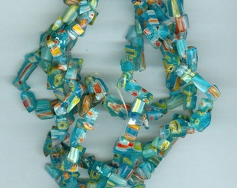 Blue with Yellow Red Millefiori Flower Glass Chip Beads 32 inch strand Bead Chips