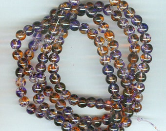 6mm Purple and Orange Spotted Glass Round Beads 30in strand