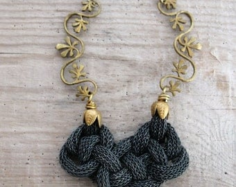 Oxidized Sterling Silver Necklace - Sterling Silver Kazaziye Handwoven Infinity Jewelry with Vintage Brass Findings