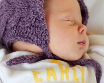 The Nora Cabled Bonnet - Knitting PATTERN - pdf format for newborn, infant, toddler, child, teen and adult