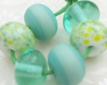 Lampwork Glass Beads Green Spacers