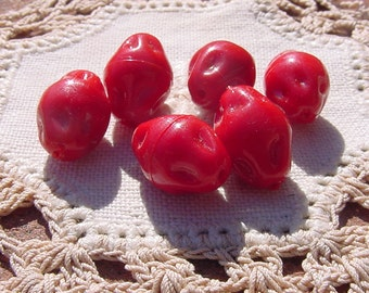 Vibrant Crimson Red Dimpled Baroque Vintage Lucite Beads