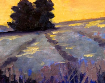 Country Landscape Oil Painting, Morning Sunrise, Yellow, Lavender Field, Tree, Small 6x6 Canvas, Rural Farm Scene, Gold Purple, Wall Decor