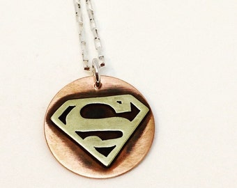 Superman necklace for men dad, brass and copper, geekery