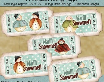 Snowman Tags Ticket Shaped Printable Hang Tags or Labels - Digital Print PDF and/or JPG File