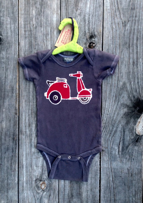Unisex Baby Clothing scooter one piece bodysuit, organic baby gifts, personalized baby, hand dyed clothing newborn , batik baby shower gift