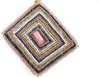 Bead Embroidered Necklace // Art Deco // Pink and Gold