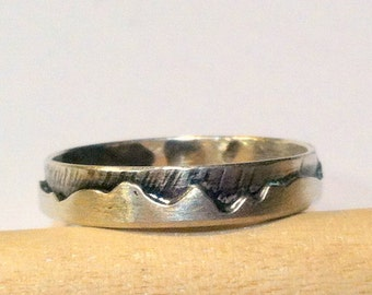 Mountain Ring, Wedding Band, Customizable, Solid Sterling Silver, Textured Landscape Ring, For Men or Women, One of a kind