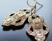 Art Deco Rhinestone Earrings, Clear Rhinestone Architectural  Earrings, Bridal, Evening Earrings, Sterling Silver Ear Wires, Classic Dangle