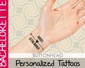 6 Personalized Bachelorette Party Favors Temporary Tattoos - Bow Heart Arrow
