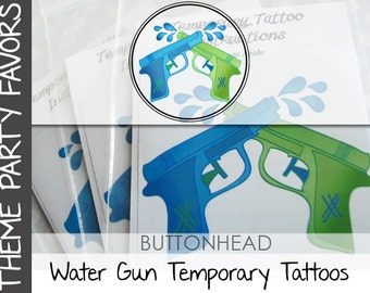 6 Pool Party Favors - Water Gun - Water Wars - Watergun Party Favor Temporary Tattoos