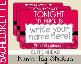 10 Bachelorette Party Game Name Tags Stickers