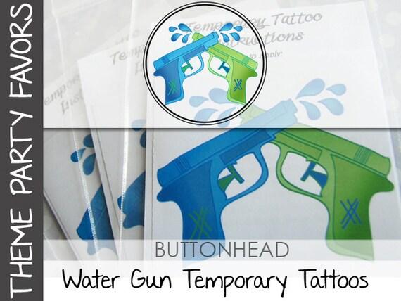 6 Pool Party Favors - Water Gun - Water Wars - Watergun Party Favor Temporary Tattoos