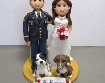 DEPOSIT for Custom made Polymer Clay Officer Wedding Cake Topper
