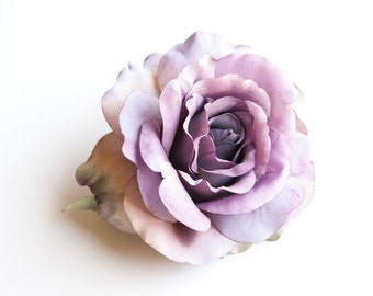 Large Blooming Georgia Rose in Lavender Gray - Artificial Flower, Flower Crown Supplies, diy bouquet - ITEM 0540