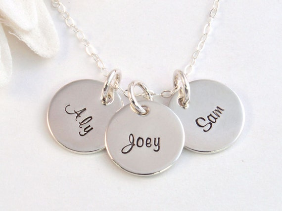 Tiny Charms Mother's Necklace, Sterling Silver Hand Stamped Gift for Mom, Mother's Jewelry, Gift for Her, Name Jewelry