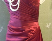 Red  satin dress SALE  formal gown bridesmaid scarlet crimson  small medium, , from vintage opulence on Etsy