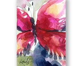 Butterfly Joy No. 2 ... Original abstract watercolor aceo art ooak painting by Kathy Morton Stanion  EBSQ