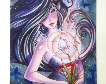 Gothic Fairy Postcard - Mourning - Lily and Butterfly Fairy - Stationary - Watercolor Art