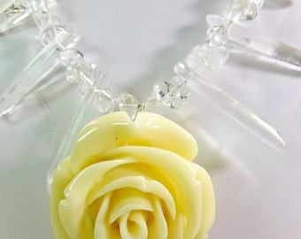 Creamy White Resin Rose with Quartz Crystal Tips and Quartz Chips Necklace Inspired by symbols in the 1980s TV Show Beauty and the Beast