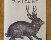 jackalope birthday letterpress card