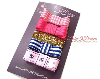 15 Sets of Newborn Clips U Pick / Infant Snap Clips / Girls Hair Clip / Baby Bow / Nautical Hairbow / Toddler Bow No Slip Alligator Barrttes