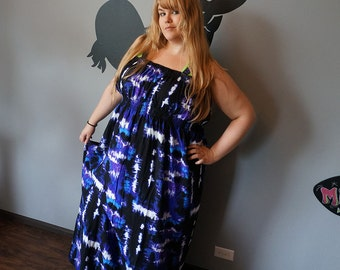 Luau Maxi Dress Black Purple. XXL 3X