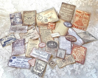Replica British theme Paper Ephemera selection, 30 Hand stamped and faux-aged scrapbooking elements for ATCs, collage, cards, papercraft