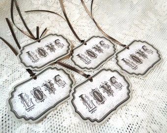 Love Fancy Tags, Vintage style tags for Wedding gifts, Set of 5, Brown Beige Tan Taupe, Shabby Chic, Distressed, Party Favor, Gift Tags