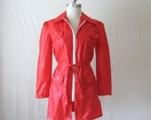 Mod Jacket Red Raincoat Windbreaker 1970s Rain Jacket Zip Up Jacket Womens Rain Coat