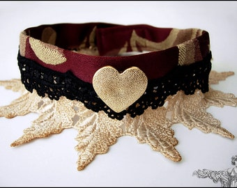 Whimsical Victorian Heart Choker by Kambriel in Deep Red and Gold Brocade with Tea Dyed & Black Lace - Brand New - Ready To Ship!