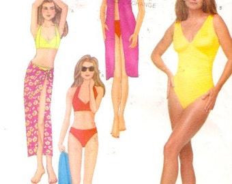 One piece swimsuit two piece bikini pareo Sewing pattern Butterick 6578 Swimsuit size 12 to 16 Uncut
