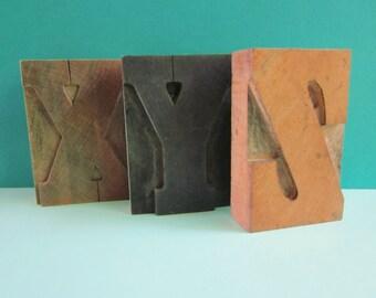 Three Vintage Printing Blocks X Y Z