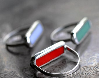 bar ring modern ring minimalist ring sterling silver jade green stained glass mod ring line ring COLOR BAR RING-size 8-8.5