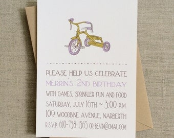 First Birthday Invitation Girl - Lilac Tricycle