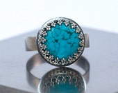 Turquoise Silver Ring, Oxidized Sterling Silver, Made to Order, Handmade