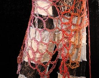 SALE. Mermaid Net Wrap, beachside shawl, free form net crochet, Belly Dance hip scarf, Festival Fashion, hippie layer skirt, boho style