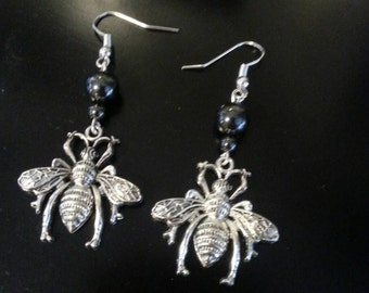 Silver Wasp Bug Earrings