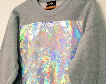 Crumpled Holographic Panel Sweatshirt - Grey