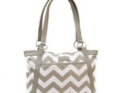 Less than Perfect - Chevron Laptop Bag in Gray and White Chevron - Laptop Bag, Laptop Tote, Coated Canvas and Vegan Leather